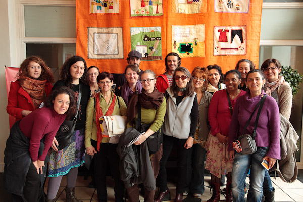 The group from Fundació Atenue Sant Roc, Badalona, who attended the launch of their exhibition in the Verbal Arts Centre, Derry, 14th April 2011. (Photo: Martin Melaugh)
