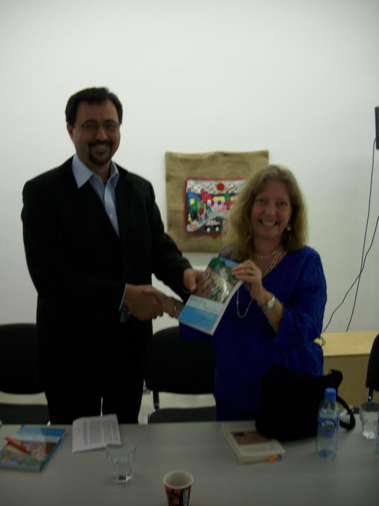 Brandon Hamber (INCORE) with author Marjorie Agosín at the Regional Cultural Centre, Letterkenny, whose book