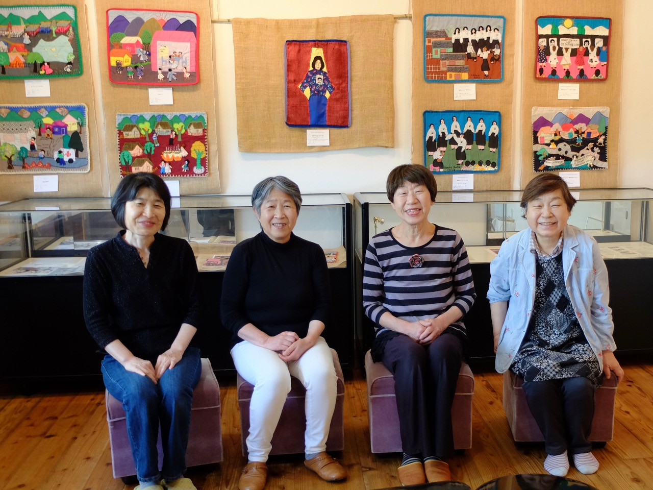 The Oshima Hakko Museum team who completed the setting up of the exhibition. (Photo: Tomomitsu Oshima)