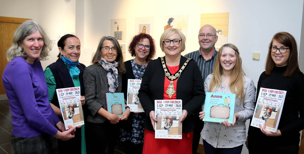 The exhibition team and attendees pictured with Mayor of Causeway Coast and Glens, Councillor Brenda Chivers, at the exhibition opening, 5th September 2018. (Kevin McAuley, McAuley Multimedia)
