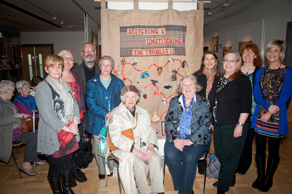 Participants who created new textiles pictured at the launch of the exhibition: 'Stitching and Unstitching The Troubles exhibition - Phase 2', at the Braid, Ballymena, April 2013