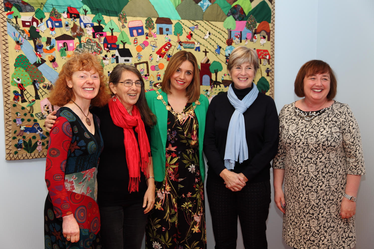 (L-R) Breege Doherty, Roberta Bacic, Councillor Elisha McCallion - Mayor of Derry City & Strabane District Council, Professor Gillian Robinson and Margaret Edwards at the launch of the new Conflict Textiles website, 19th Nov, 2015. (Photo: Martin Melaugh)