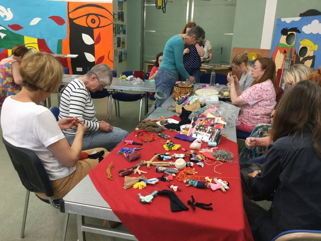 Participants engrossed in making an arpillera doll at the workshop facilitated by Roberta Bacic, 21st July, 2016. (Photo: © B.Ellis51)