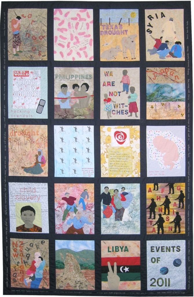'Events of 2011' by Irene MacWilliam; her last 'Event of the year' quilt, in a series of 27, beginning in 1986. (Photo: Irene MacWilliam)