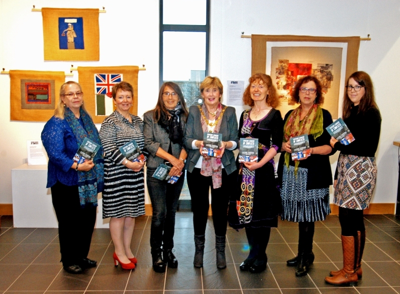 Members of the organising team at the Exhibition Launch: (L-R) Deborah Stockdale, Valerie Wilson, Roberta Bacic, Mayor Alderman Maura Hickey, Causeway Coast & Glens Borough Council, Breege Doherty, Helen Perry and Sarah Carson. (Photo: David Larmour)