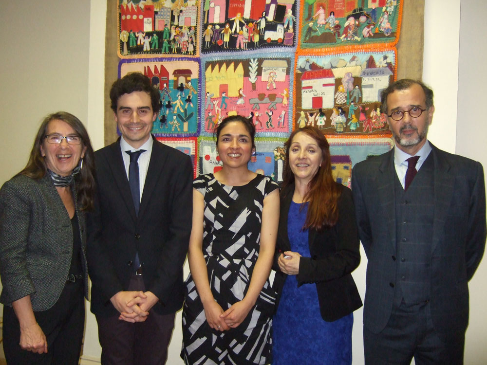 (L-R) Curator Roberta Bacic, Chilean Consul Renato Gomez, staff members Ruby Wolleter and