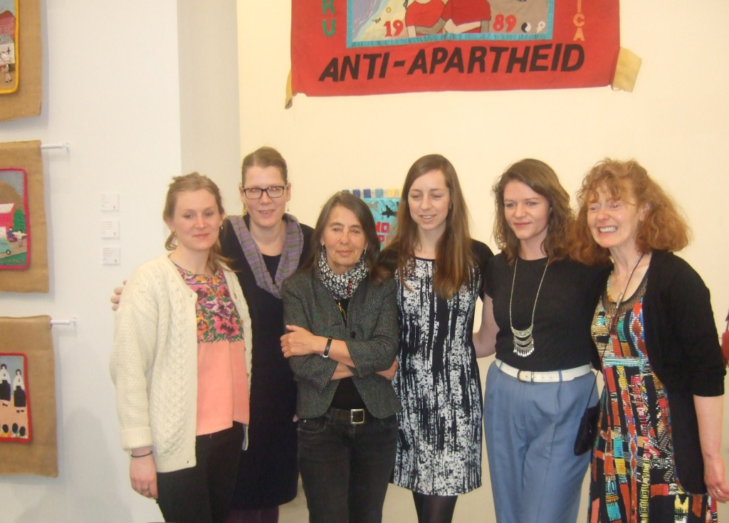 The exhibition team from the Department of International politics at the launch: (L - R) Danielle House, Dr Berit Bliesemann de Guevara, Roberta Bacic, Curator; Christine Andrä, Lydia Cole and Breege Doherty, Assistant Curator. (Photo: Elsie Dolan)