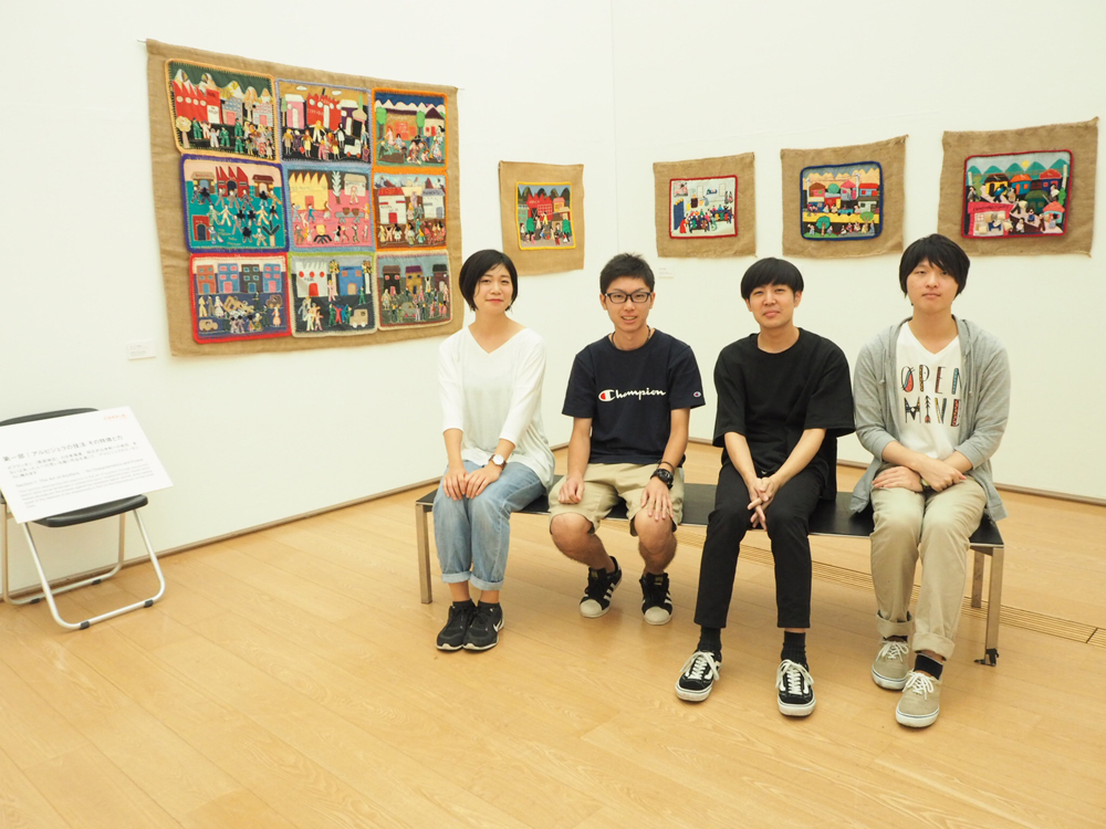 Nagasaki University students who helped setting up the exhibition. (Photo: Tomoko Sakai)
