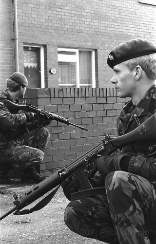 © Copyright Paul Crispin - photograph of British soldiers in Belfast during 1986