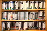 Photograph of part of Peter Heathwood's video collection