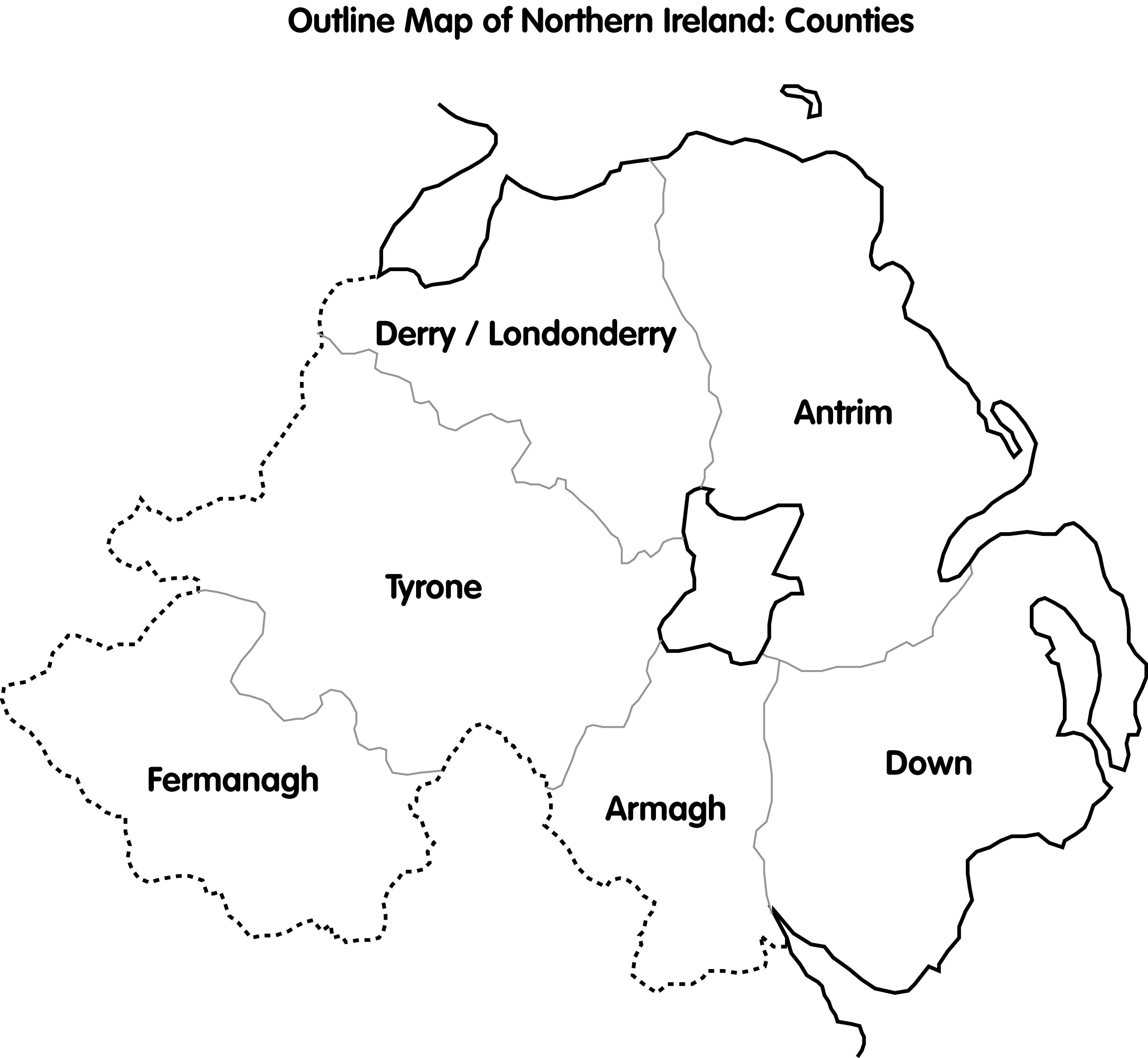 Map Of Ni CAIN: Maps: Outline Map of Northern Ireland; counties