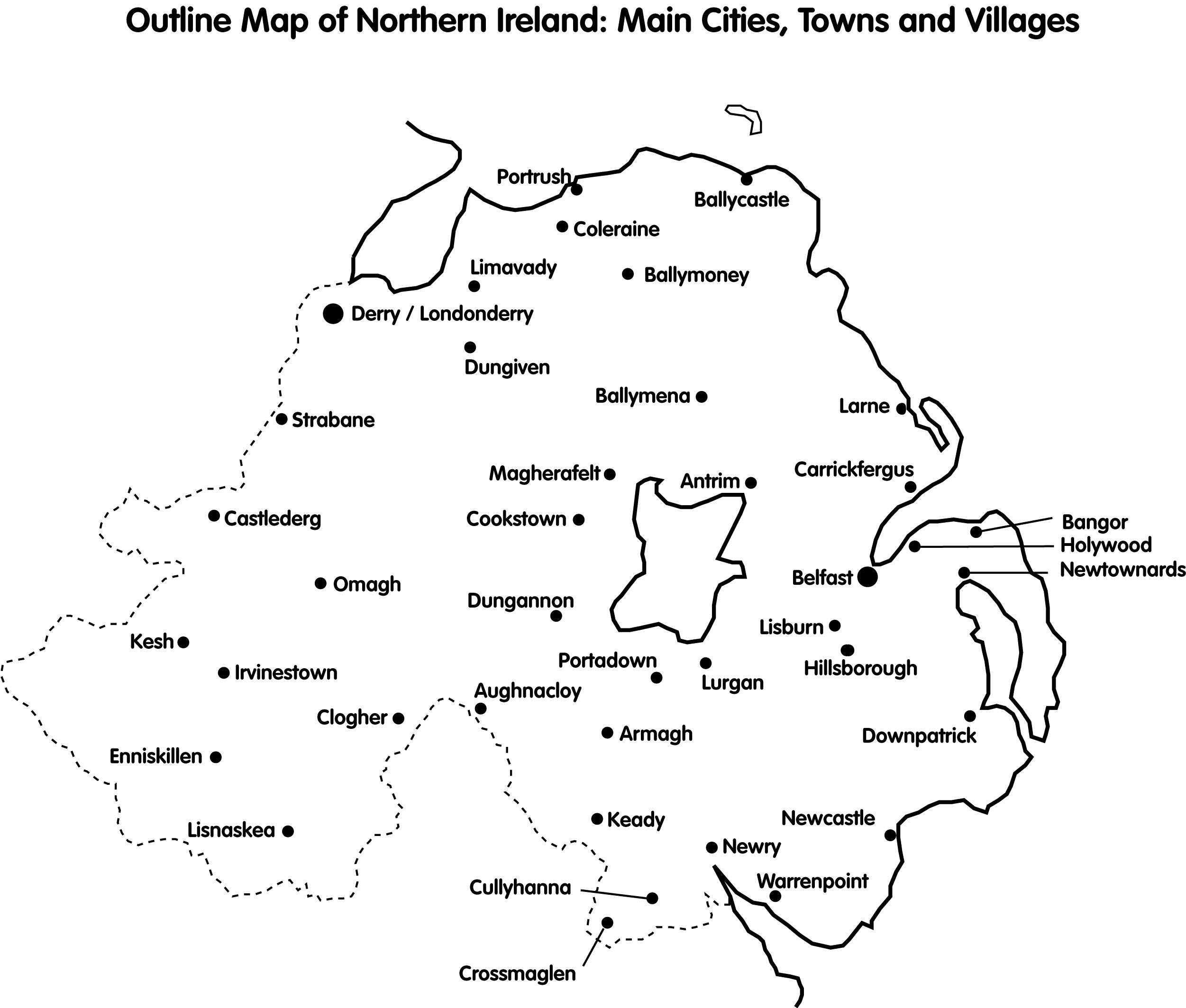 CAIN Maps Outline Map Of Northern Ireland Main Cities Towns - Cities map of ireland